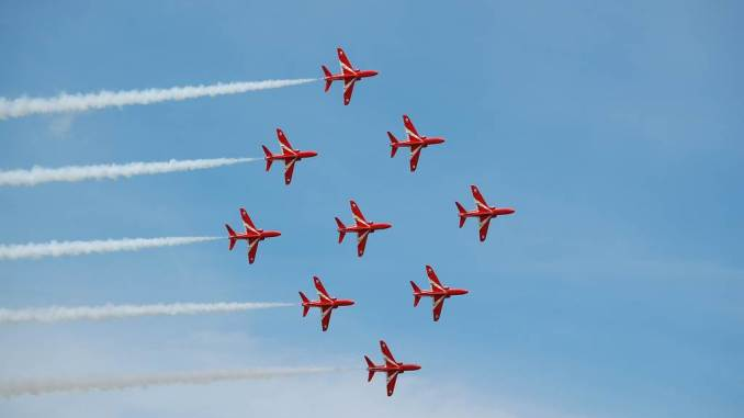 The Red Arrows in Diamond Nine (Image: Aviation Wales)