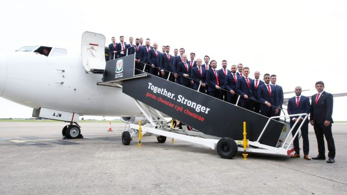 The Wales team before they departed from Cardiff ahead of the Euros