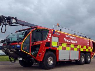 Cardiff Airports new fire engine Y Draig Coch (Picture Aviation Wales / Philip Dawson)