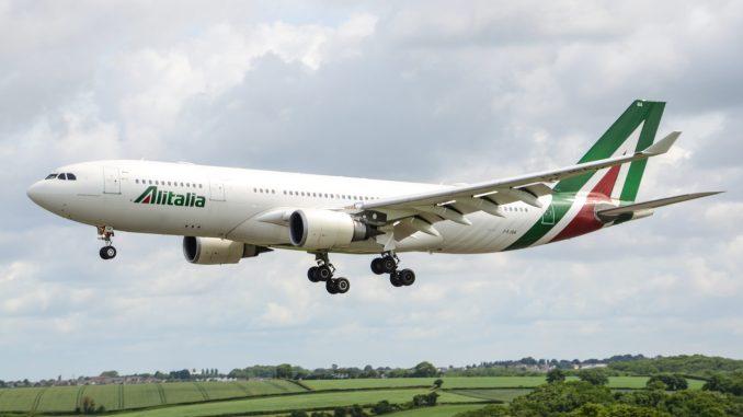 Alitalia A330 at Cardiff Airport