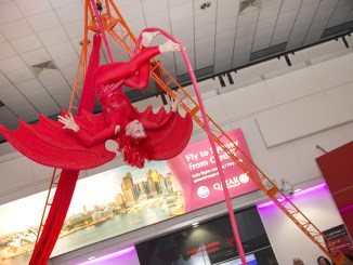 Organised Kaos Youth Circus performs at Cardiff Airport