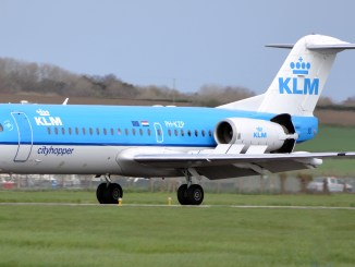 KLM's final Fokker f70 flight from Cardiff Airport