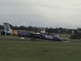 Flybe flight BE331 lands with nose gear up at Belfast