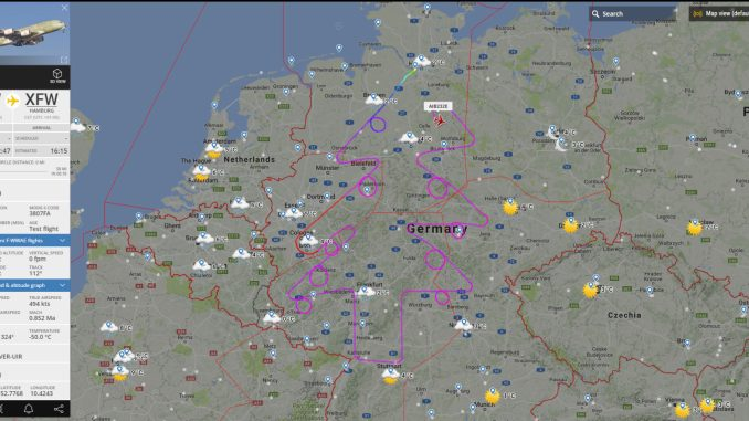 Airbus draws giant Christmas tree over Germany