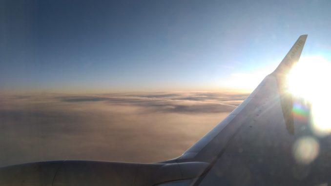 High over the North Sea on a Ryanair 737-800