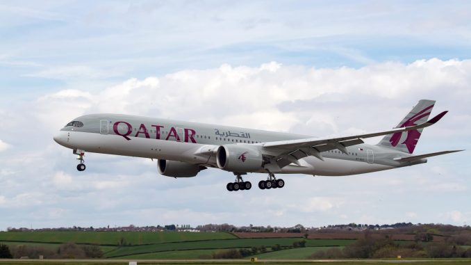Qatar A350-900 arrives into Cardiff Airport (Image: Pete Harrison)