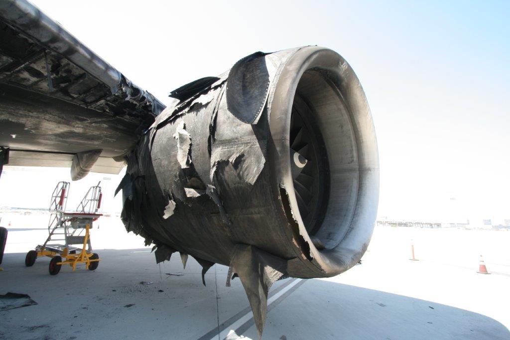 Damage to the GE90 on BA2276 (Image: NTSB)