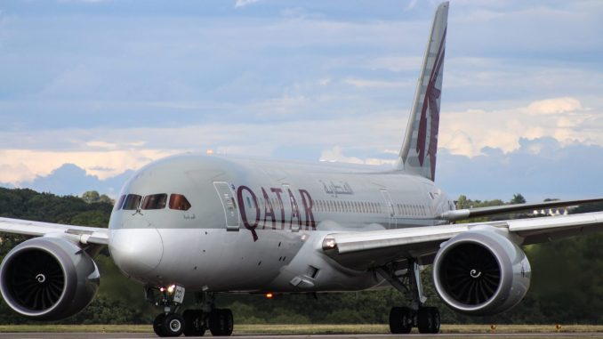 Qatar Airways Boeing 787-8 preparing for take-off at Cardiff Airport (Image: Nick Harding / The Aviation Media Co.)
