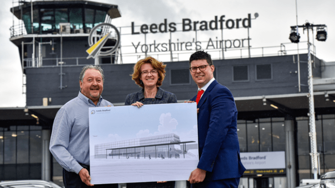 David Laws, CEO Leeds Bradford Airport, with Cllr Susan Hinchcliffe, chair of West Yorkshire Combined Authority, and Henri Murison, director of Northern Powerhouse Partnership.