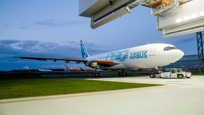 A330-800neo rolls out of the paintshop