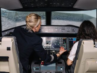 Trying out the simulator at the BA Flying Futures event (Image: BA / Stuart Bailey)