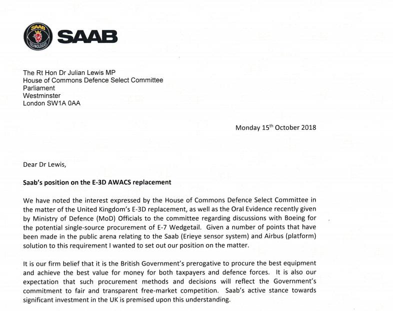Saab letter heading