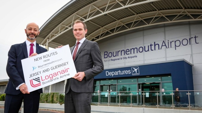 Andrew Bell, Chief Executive Officer of Regional & City Airports, right, which owns and operates Bournemouth Airport, and Stephen Gill, the airport's Managing Director.