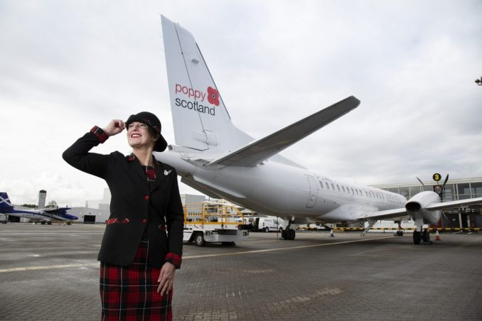 Loganair's poppy wearing Saab 2000