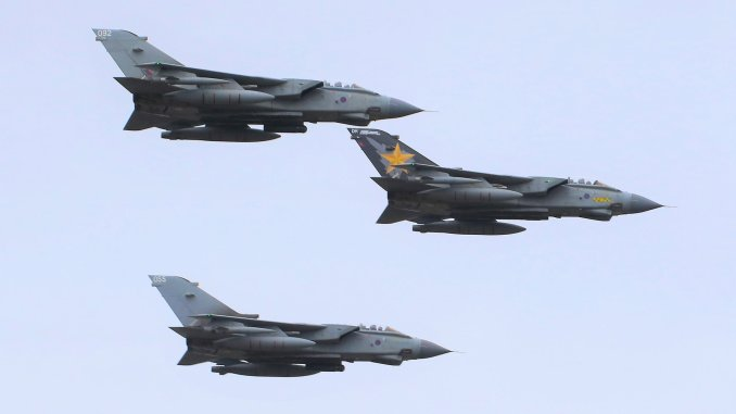 3 Tornados carry out a flypast to mark the end of service for the Tornado (Image: John Edwards)
