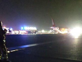 Twitter user Sam Long posted this image of the Laudamotion Airbus being evacuated (Image: Twitter/@Slongy20)