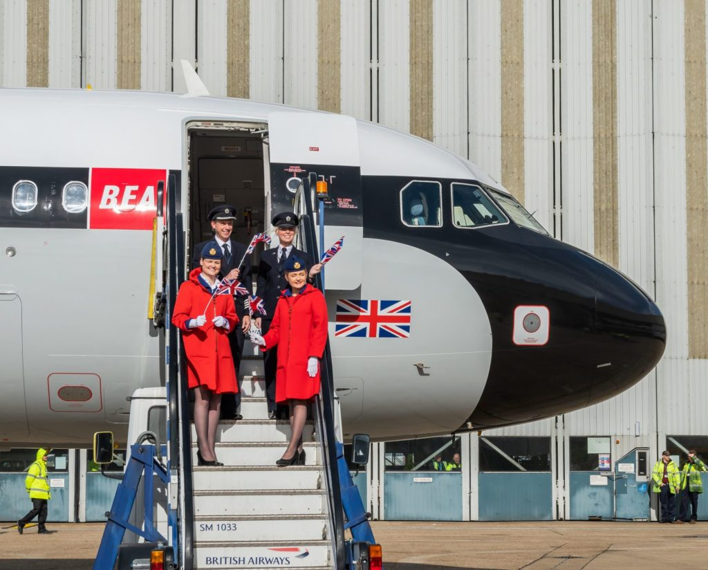 The crew of BEA Airbus A319 G-EUPJ (Image: Jamie Woodhouse-Wright/Aviation Media Co.)
