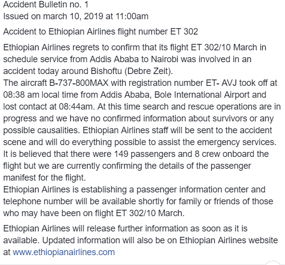 Ethiopian ET302 Statement