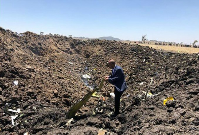 The image of the crash site of ET302 has been widely shared on social media.