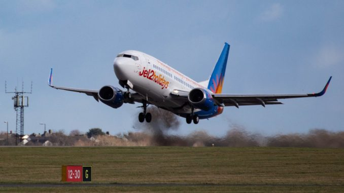 Jet2 Boeing 737 G-GDFB on a charter flight at Cardiff Airport