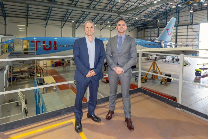 Cardiff Aviation Chairman Bruce Dickinson and CEO Joachim Jones (L-R) have welcomed a further 17 aircraft from TUI Airways.