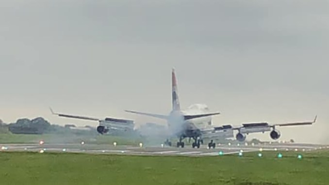 G-BNLN Touching down at St Athan (Image: Jess Wilde)