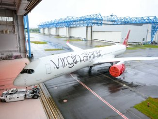 Virgin Airbus A350-1000 G-VPOP rolls out of the paintshop (Image: Virgin Atlantic)