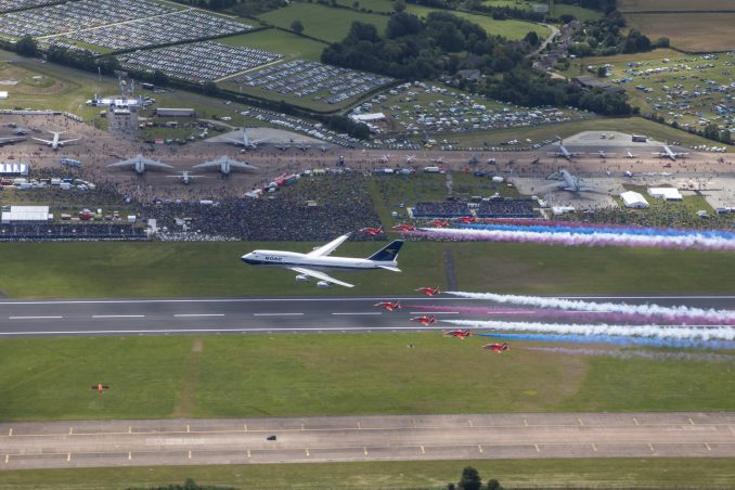 The Royal Air Force Aerobatic team, the Red Arrows, and a British Airways Boeing 747 delighted the crowds with a flypast at this year's Royal International Air Tattoo at RAF Fairford. The Boeing 747 has been painted in the airline's predecessor British Overseas Airways Corporation (BOAC) livery to mark British Airways' centenary this year. This weekend, the Red Arrows are performing in the UK for the final time this season – before embarking on their biggest-ever tour of North America. Imagery taken from Red 10's aircraft piloted by Red 10, Sqn Ldr Adam Collins with Circus 10, Cpl Ashley Keates, Photographer in the rear seat.