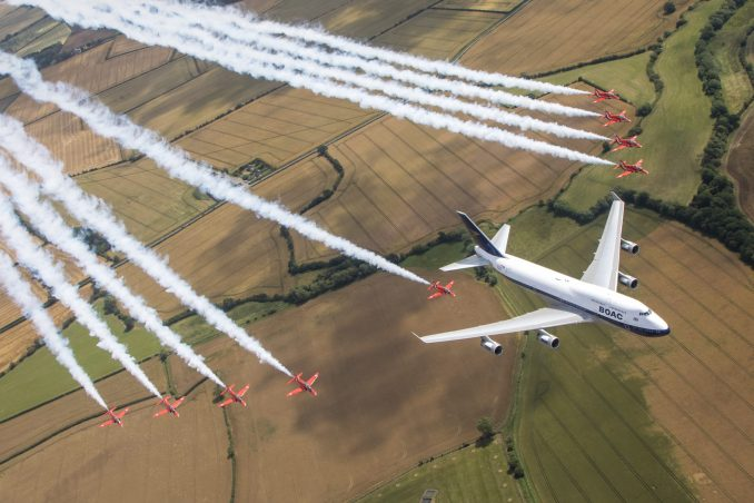 The Royal Air Force Aerobatic team, the Red Arrows, and a British Airways Boeing 747 delighted the crowds with a flypast at this year's Royal International Air Tattoo at RAF Fairford.