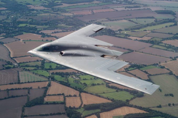A United States Air Force B2 Spirit, currently deployed to RAF Fairford in Gloucestershire, flies above the English countryside near Dover. - Imagery captured by a USAF Exchange Pilot.