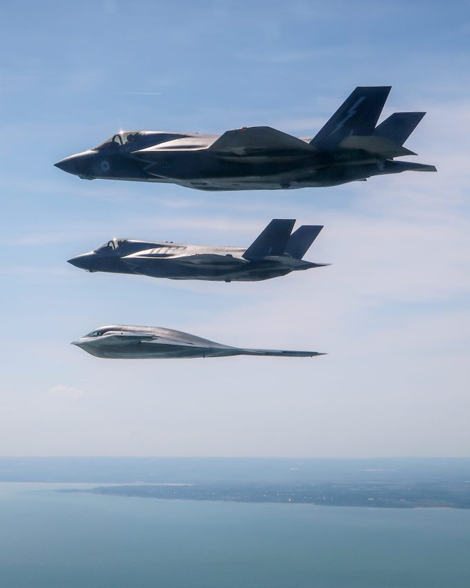A United States Air Force B2 Spirit, currently deployed to RAF Fairford in Gloucestershire, flies above the English countryside near Dover with two RAF F-35 jets. -  Imagery captured by a USAF Exchange Pilot.
