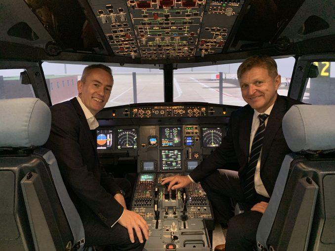 CAE's Marc Parent with Easyjet's David Morgan
