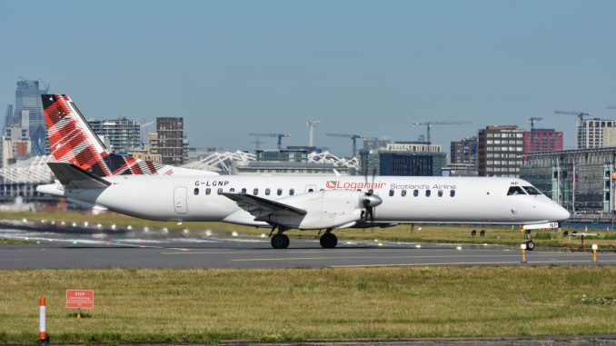 A Loganair Saab at London City Airport (Image: Aviation Media Agency)