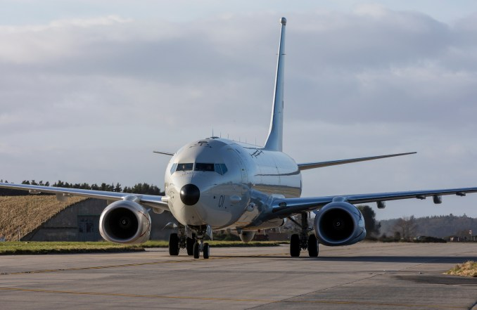 The P-8A Poseidon taxi's towards it parking slot at Kinloss. (© Crown Copyright 2020)