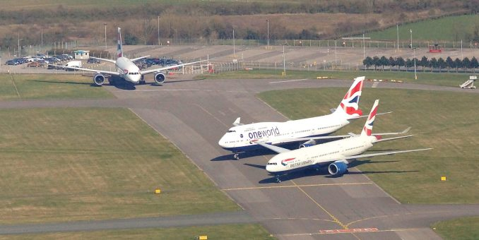 A British Airways 787, 777 and 747 at Cardiff Airport (Image: John Bulpin)