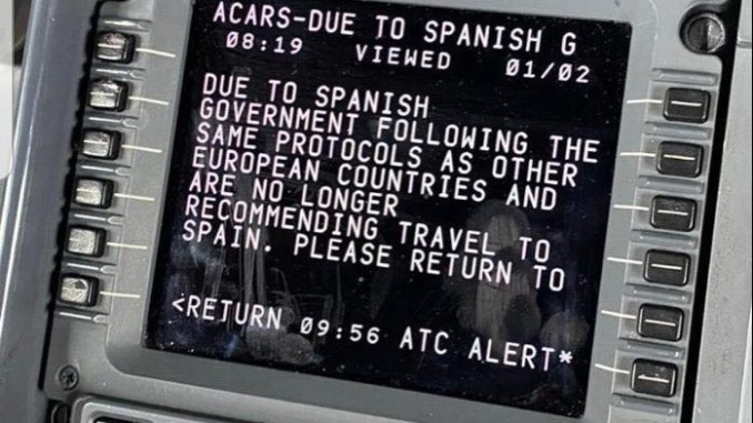 An ACARS message reportedly from a Jet2 flight to Spain although this has not been verified.