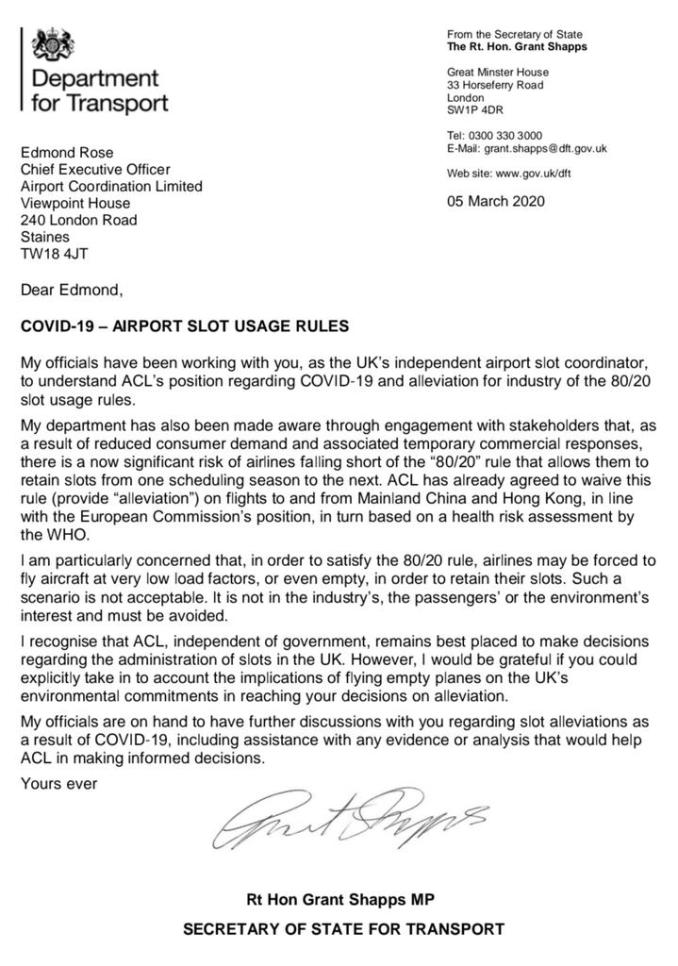 Grant Shapps letter to ACL