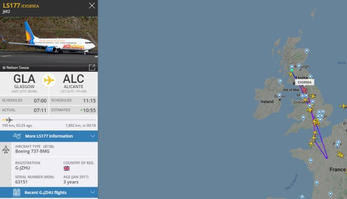 Jet2 flights turning back to the UK from Spain (FlightRadar24)