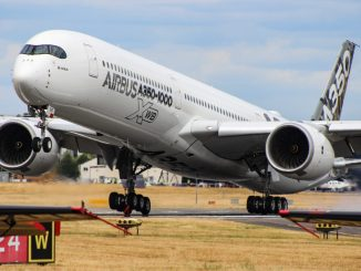 An Airbus A350-1000XWB touches down at Farnborough (Image: TransportMedia UK)