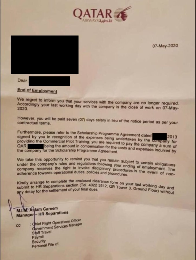 Qatar Airways Letter, redacted to protect identities.