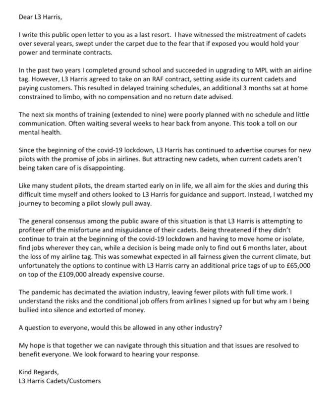 L3 Harris Open Letter