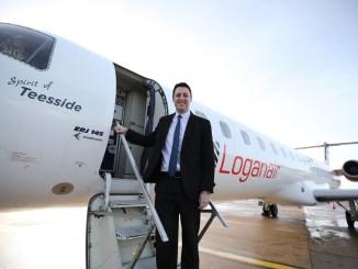 Teesside mayor Ben Houchen with Embraer 145 Spirit of Teesside
