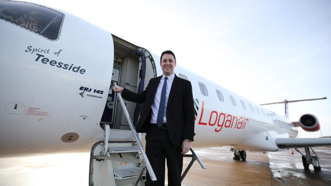 Teesside mayor Ben Houchen with Embraer 145 Spirit of Teesside