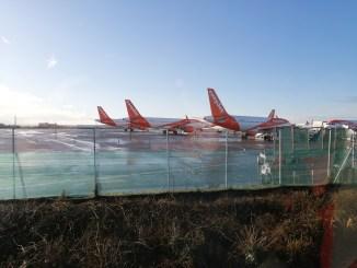 easyjet Airbus aircraft parked at Bristol Airport