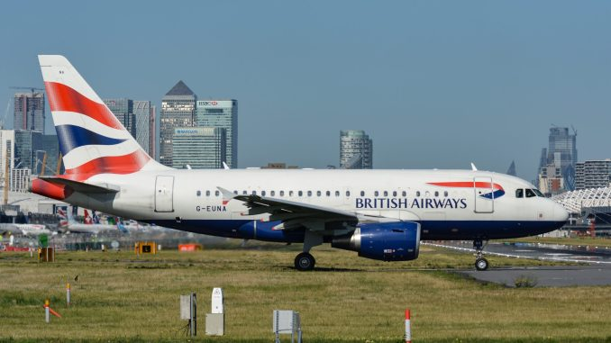 G-EUNA waits to line up at London City Airport for another departure to New York (Image: TransportMedia UK)