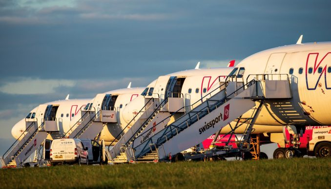 All four Wizz Air Airbus A321 parked at Cardiff Airport (Image: Mark Parsons)