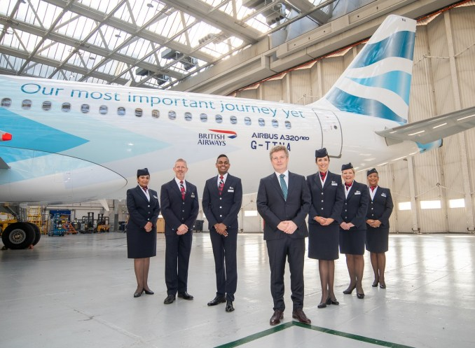 Sean Doyle stands in front of the BA Better World A320neo