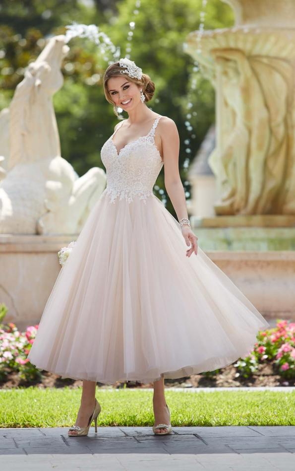 Stella York tea-length wedding dress.