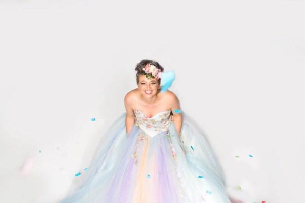 unicorn wedding dress, rainbow wedding dress