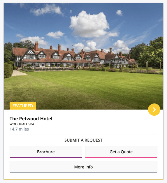 We will use the Petwood Hotel as our example supplier.
